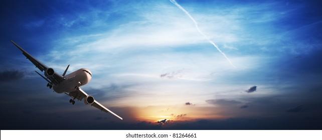 Jet plane in flight. Panoramic image.