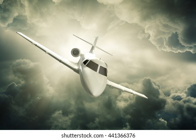 Jet plane flying in the air 3d rendering.
