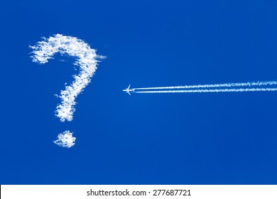 a jet plane flying in the blue sky does not know where