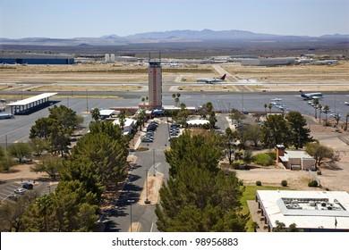 Jet plane landing at Tucson International Airport