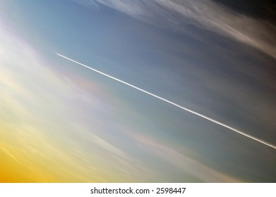 jet plane in sky in the early morning