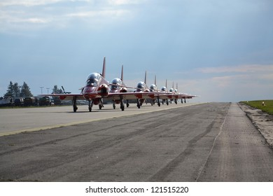 Jet planes rolling on a runway