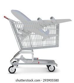 Jet in shopping cart on isolated white background
