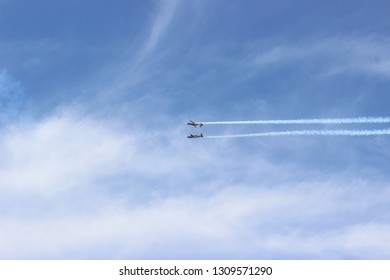 Jet in the skay on airshow aerobatic
