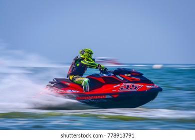Jet ski competition in Thai Airways International JET SKI WORLD CUP 2017 December 7 at  Jomtien Beach, Pattaya City, Thailand