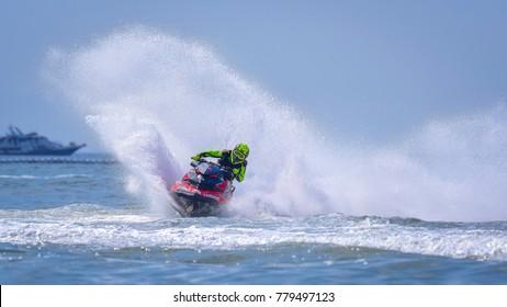 Jet ski competition in Thai Airways International JET SKI WORLD CUP 2017 December 8 at  Jomtien Beach, Pattaya City, Thailand