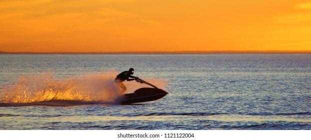 jet ski with flaming speed