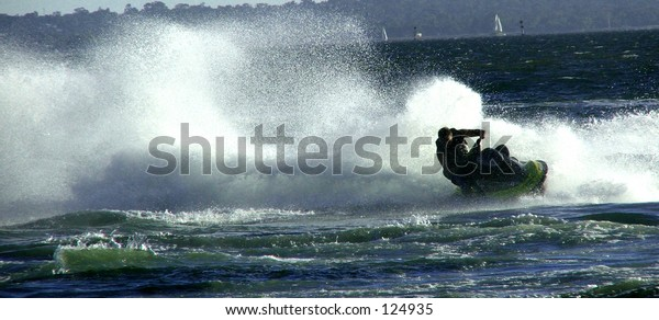 Jet ski making lots of splashes