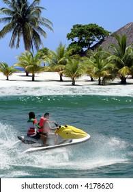 Jet Ski racing on tropical island