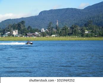 Jet ski water sports at Lake Gregory in Nuwara Eliya, Sri Lanka