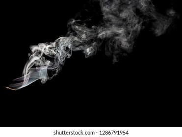 jet of smoke on a black background