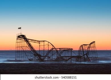 Jet star roller coaster in the atlantic ocean after hurricane sandy