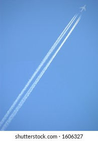 Jet stream against the deep blue sky