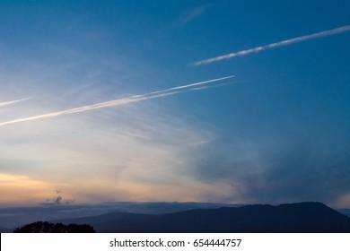 Jet Streams and Sun Set