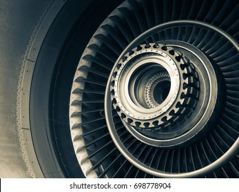 Jet turbine engine part removed for maintenance,aviation repair
