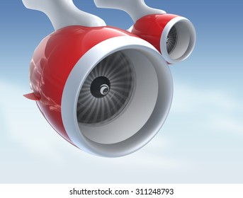Jet turbofan engines with red color paint isolated on blue sky. 3D rendering image with clipping path.