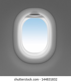 jet window with sky behind