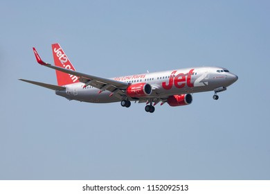 A jet2.com low cost carrier Boeing 737-800 landing at Thessaloniki Makedonia airport. The registration of the aircraft is G-JZHR. Thessaloniki, Greece - August 7, 2018