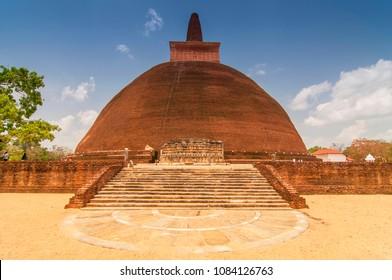 Jetavanaramaya dagoba in the ruins of Jetavana in the sacred world heritage city of Anuradhapura, Sri Lanka.