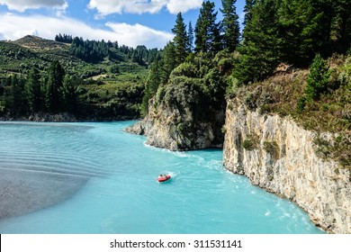 Jetboat on a turquoise glacial lake
