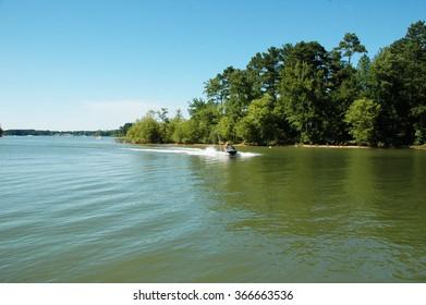 Jetski coming towards the dock in Kerr lake state park in southern Virginia, USA