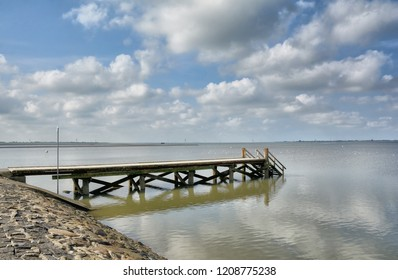 Jetty at Beach of Husum in North Frisia,Schleswig-Holstein,Germany