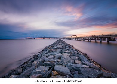 Jetty and the Chesapeake Bay Bridge at Sandy Point State Park, in Annapolis, Maryland
