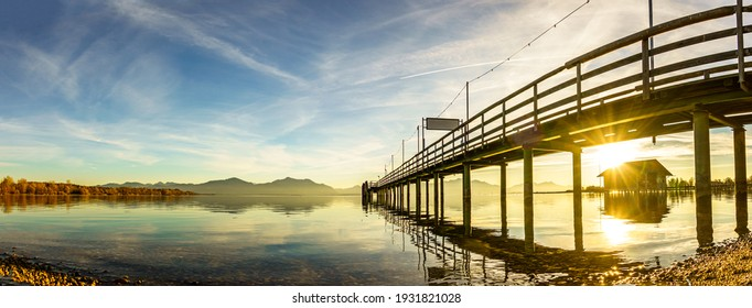 jetty at the chiemsee lake - bavaria - seebruck