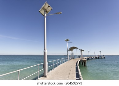 Jetty equipped with solar energy street lighting in Jurien Bay, Western Australia