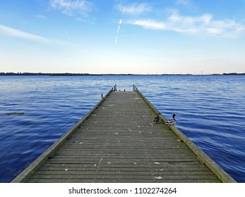 Jetty in the Gooimeer in the Netherlands