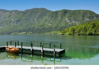 Jetty at Lake Bohinj in Triglav National Park,Slovenia