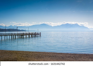 Jetty at lake Chiemsee in the Alps of Bavaria