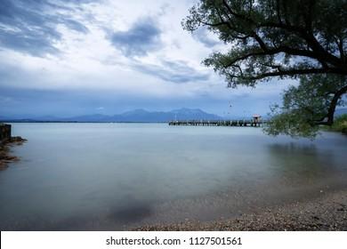 Jetty at lake Chiemsee in Bavaria, Germany