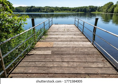 jetty on a lake in the Mecklenburg Lake District, Germany