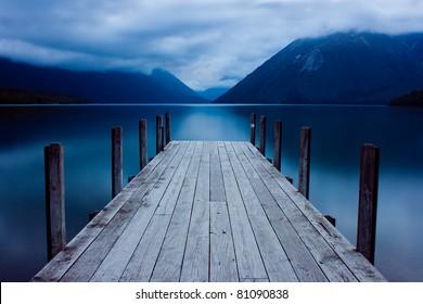 Jetty on a mountain lake