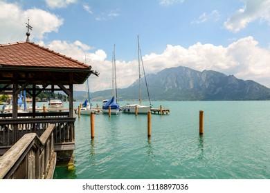 Jetty in Unterach at lake Attersee in austrian alps near Salzburg, Austria Europe