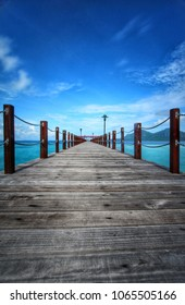 Jetty view with blur skies