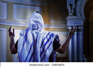 A Jew praying in a synagogue
