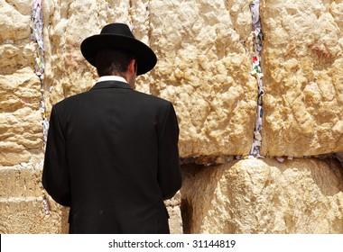 Jew at the wailing western wall. Jerusalem. Israel.