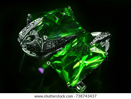 a3f18affd9d Jewel Earrings Green Stones Diamonds Closeup Stock Photo (Edit Now ...