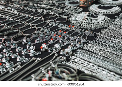 Jewelery from silver. Indian market, Goa.