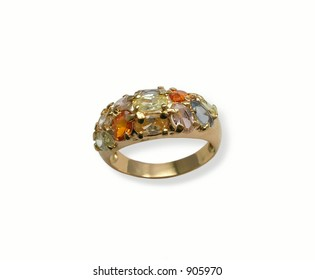 Jeweller ring with multicolor minerals . Isolated