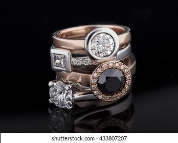 Jewellery diamond ring on a black background