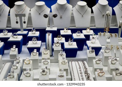 Jewellery and diamonds on display