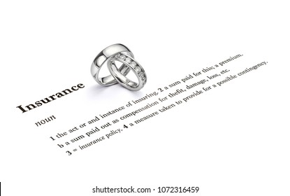 Jewellery insurance diamond rings and wedding rings with insurance quotation. Isolated definition of insurance with a pair of wedding rings featuring a single plain ring and diamond set wedding ring.