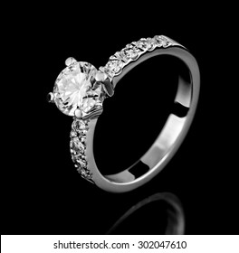 Jewellery ring on a black background.