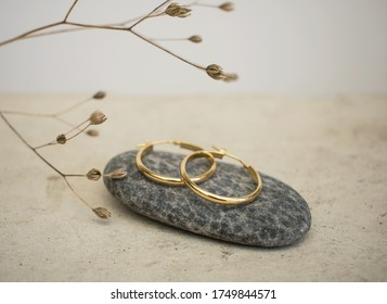 Jewellery setup. Jewelry fashion photography. Earrings fashion photography.  Earrings presented on a stone with a branch in the background.