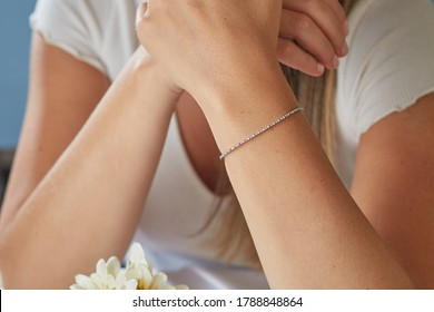 Jewellery woman. Diamond bracelet on woman