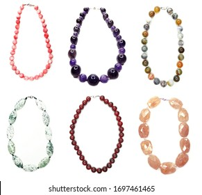 jewelry background fashion beads necklace with bright crystals