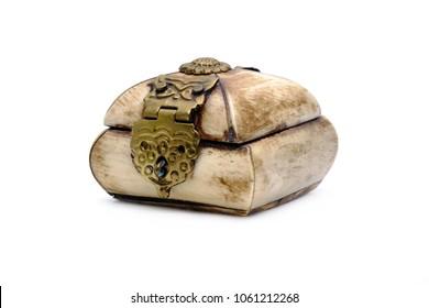 Jewelry box : Tibetan style bone carving jewelry box isolated on white background